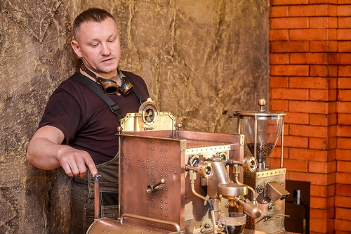 Steampunk coffee machine of copper by Dmitry Tikhonenko