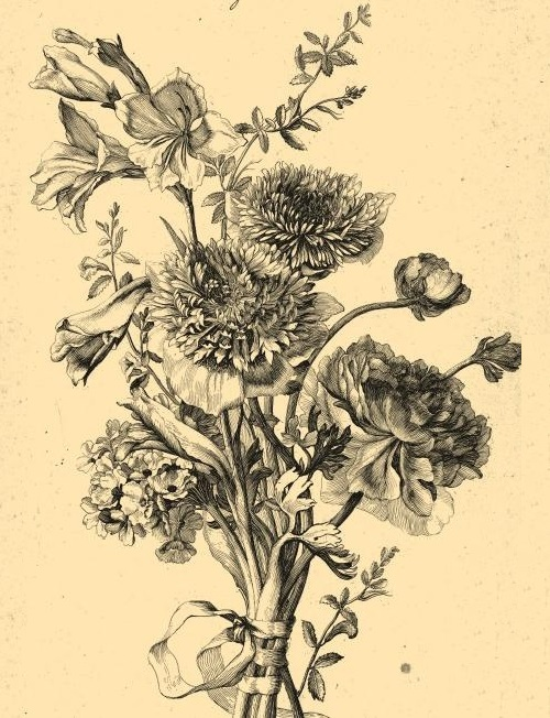 Still life flowers. Engraving on natural leather made through a unique technology of burning. The engraving on the work by Jacques Bailly