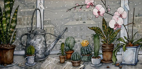 Still life with cactuses