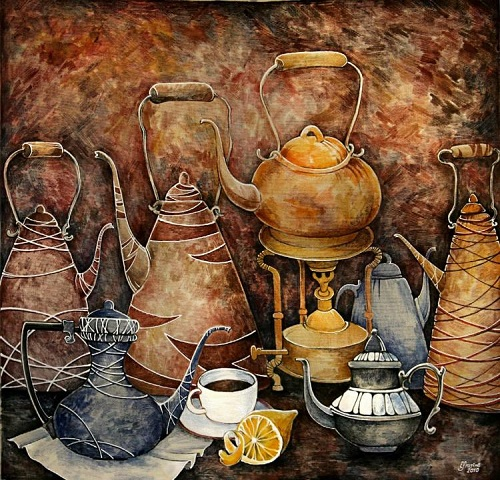 Still life with kettles