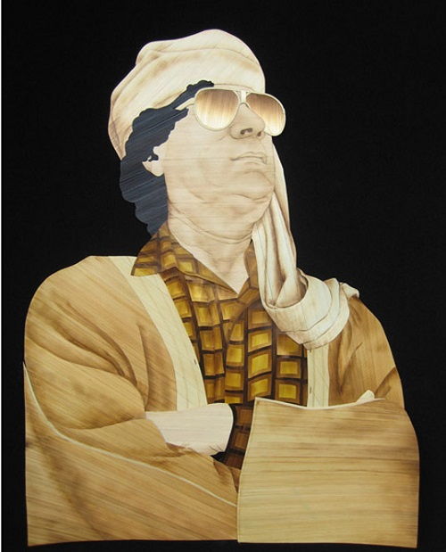 Straw portrait of Colonel Gaddafi, Libyan revolutionary and politician