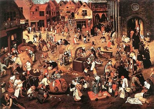 Sad Fight Between Carnival and Lent by Bruegel