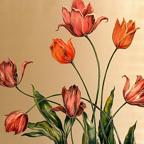 Tulips. Painting on satin