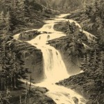 Waterfall Du Pont Espagne. Engraving from a series 'Mountain scenery'. Engraving on natural leather, on work by A.Petit