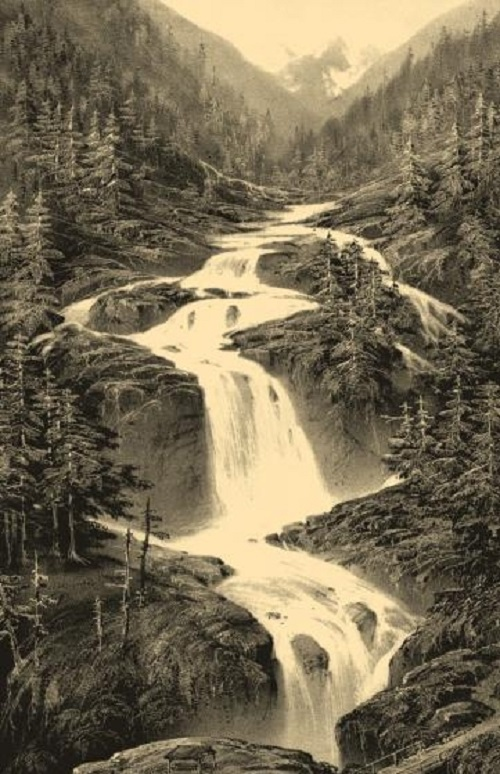 Waterfall Du Pont Espagne. Mikhail Kolotikhin unique engraving art. Engraving on natural leather, on work by A.Petit