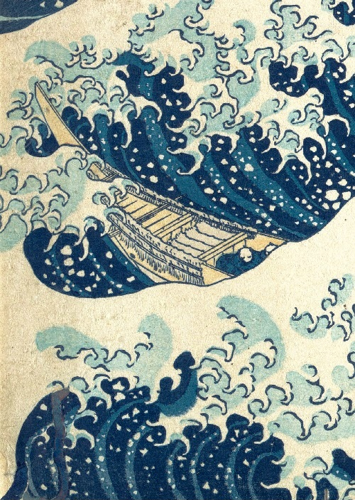 Katsushika Hokusai code. Waves and all water elements