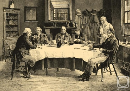 Wine Committee. Engraving of the series 'Men's Company'. Engraving executed on the eponymous work by Sadler, Arthur Turrell 1909