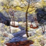 Winter landscape. Wool painting by Russian artist Svetlana Dmitrieva