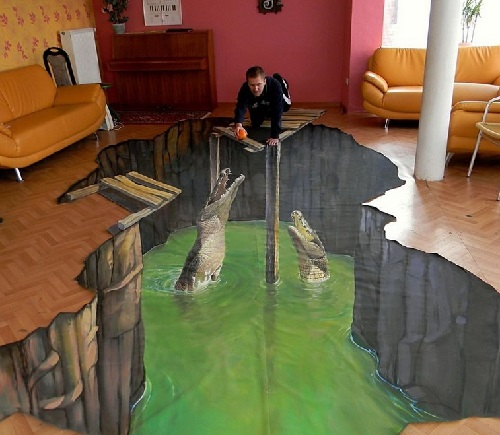 3D painting in the interior - crocodilles