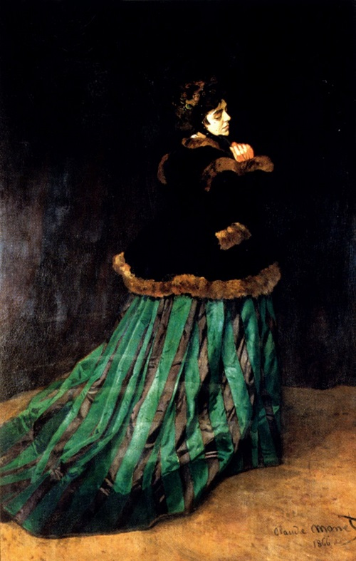 Why Claude Monet destroyed his paintings. A woman in a green dress, Monet, 1866, Bremen, Germany