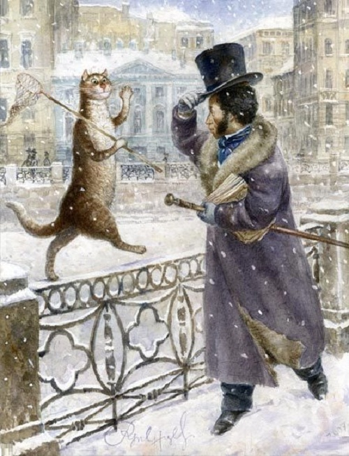 Alexander Pushkin greeting the cat. Happy meeting. Painting by Russian artist Vladimir Rumyantsev