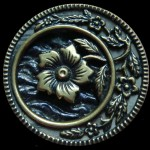 Brass Circle With a Crescent and Flowers Button
