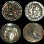 Mill, Waterwheel, Shamrock, and Strawberry. Antique vintage Estate Picture Buttons
