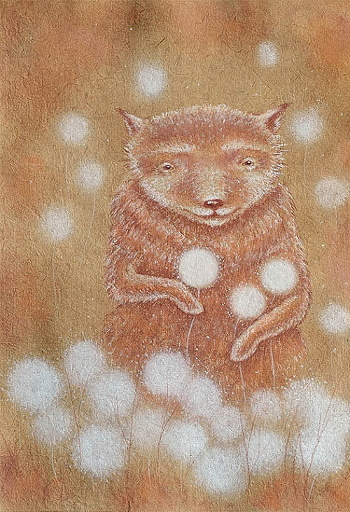 Bear's dreams. Dandelions. Painting by Anna Petrova