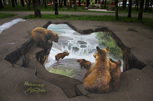 Bears watching other bears swimming and playing in the river
