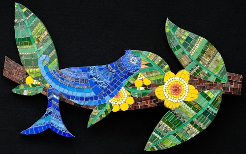 Blue bird. Mosaic painting by Irina Charny