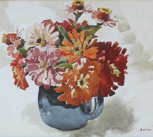 Blue ceramic jug with flowers. 1912. Still life by Hitler at auction Nate D Sanders in Los Angeles. Thursday, March 26th, 2015