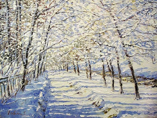 Bright winter day. Oil on canvas. Painting by Moscow based artist Evgeny Gavlin