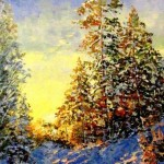 Bright winter morning. Painting by Evgeny Gavlin