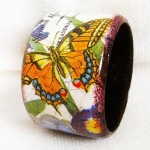 Butterfly in irises. Maya Valit. Handmade bracelet in the decoupage technique