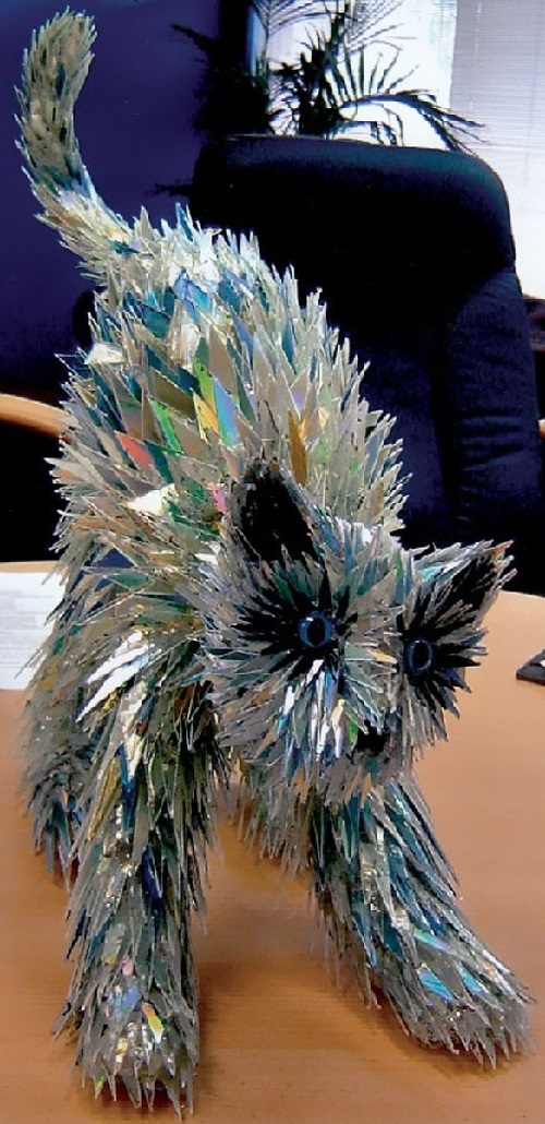 CD sculpture of a cat. CD art by Sean Avery