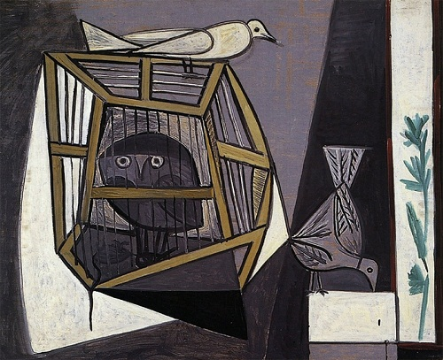 Cage with an owl. 1947