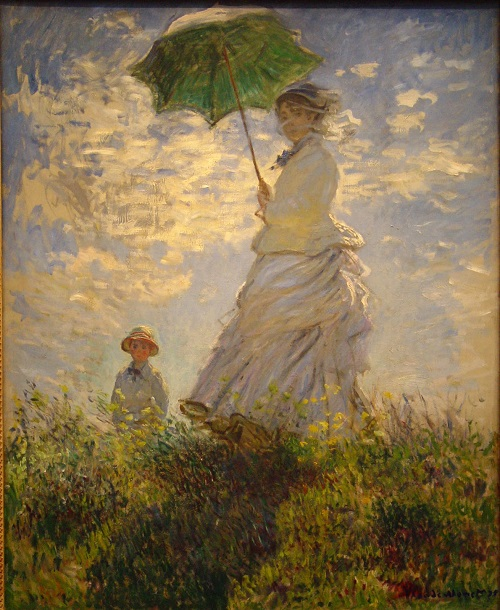 Why Claude Monet destroyed his paintings. Camille Monet and son Jean on the hill. (Lady with umbrella) 1862 National Gallery, Washington