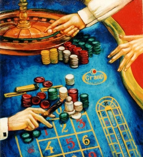 Casino. The bets are made. Oil on canvas, 2011. Painting by Russian artist Yuri Krasavin-Belopolsky