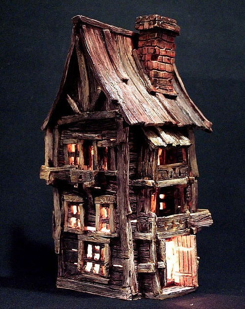 Ceramic house - candle holder. Ceramic art by self-taught artist Vladimir Yudin