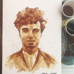 Charlie Chaplin. Coffee painting by Greek artist Maria Aristidou