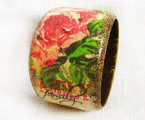 Charm. Handmade bracelet in the decoupage technique. Work by Moscow based artist Maya Valit