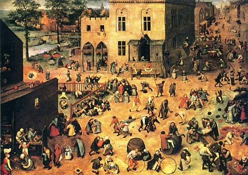 Children's Games. Painting by Pieter Bruegel the Elder. Oil on wood, 1560 Vienna, Austria. Museum of Fine Arts