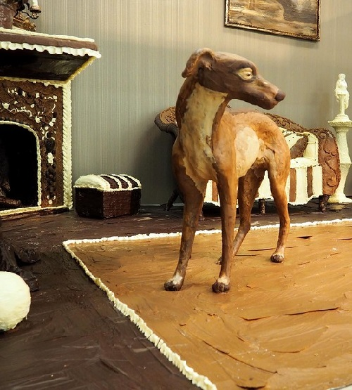 Chocolate Room by Elena Kliment. Chocolate dog in the chocolate interior of the Chocolate Room by Elena Kliment