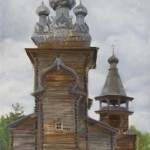 Church in Karelia. Oil on canvas. Painting by Kaluga based artist Viktoria Kharchenko