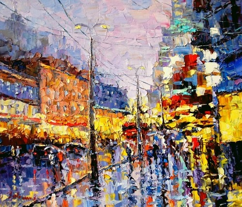 City lights. Russian impressionist painter Evgeny Gavlin