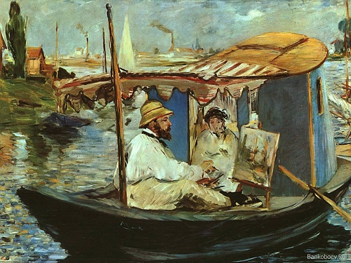 Why Claude Monet destroyed his paintings. Claude Monet in his Studio Boat. Painting by Eduoard Manet 1874