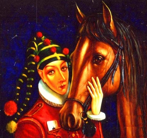 Clown with horse. Oil on canvas. Painting by Russian artist Yuri Krasavin-Belopolsky