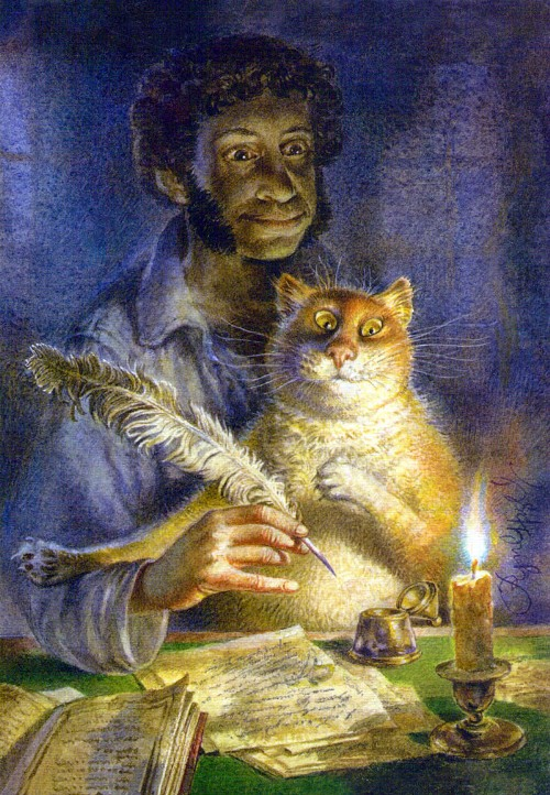 Painting cats Vladimir Rumyantsev. Creating with Pushkin