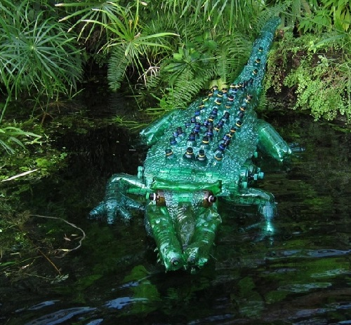 Veronika Richterova plastic bottle art. Crocodile