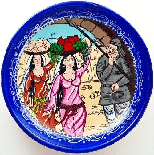 Decorative plate. Handmade Uzbek ceramics