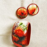 Earrings and bracelet 'Poppies'. Handmade bracelet in the decoupage technique. Work by Moscow based artist Maya Valit