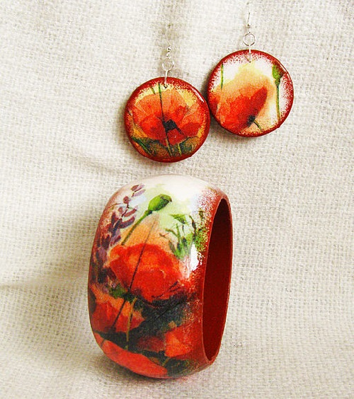 Earrings and bracelet 'Poppies'