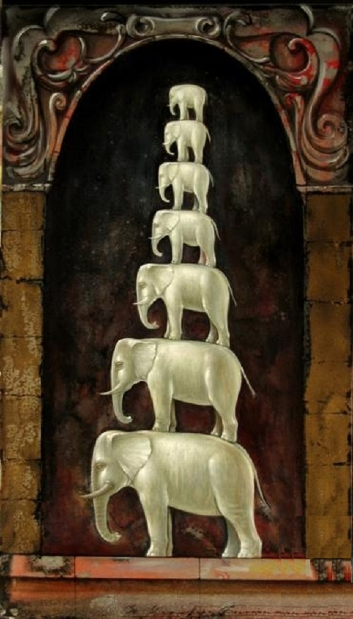 Elephants of happinness. Pyramid. Oil on canvas, 2013. Painting by Russian artist Yuri Krasavin-Belopolsky