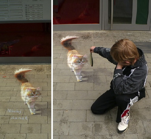 Feeding the 3D painted cat