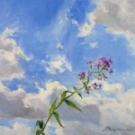 Flower and sky. Oil on canvas. Painting by Kaluga based artist Viktoria Kharchenko