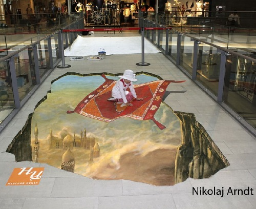 Flying on a magic carpet  in the mall. Three-dimensional painting by Nikolaj Arndt