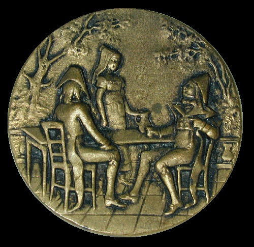 Button miniature art. French Fop Fops Button Tavern Scene