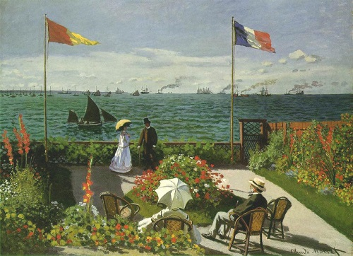 Why Claude Monet destroyed his paintings. Garden at Sainte-Adresse 1867, Metropolitan Museum of Art New York