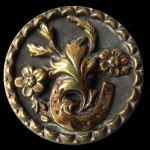Horseshoe & Flower Motif Antique Brass Picture Button