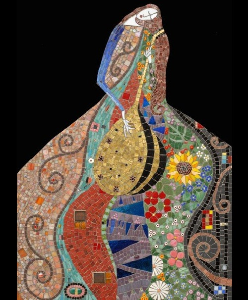 Playing the lute. Decorative Mosaics by Irina Charn
